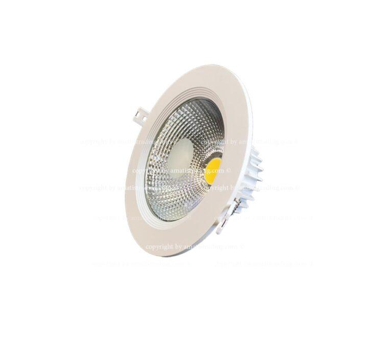 چراغ سقفی cob بدنه سفید توکار ۴m از ۱۰ تا ۴۰ وات مناسب منزل و شرکت ها