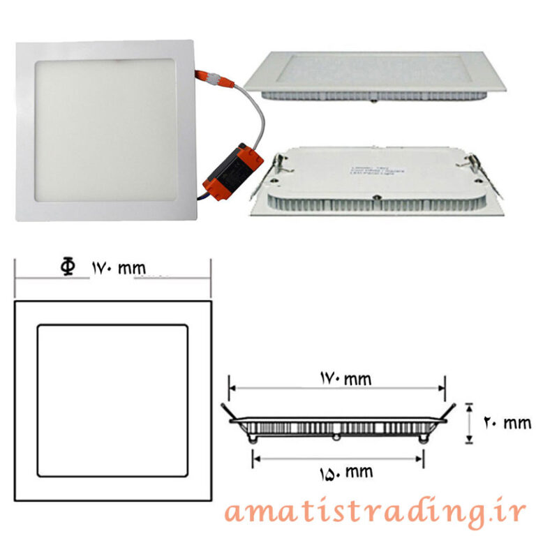 چراغ LED توکار سقفی مربع ۱۲ وات